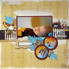 Nap Times - Scrapbook.com - Cute page. #scrapbooking #layouts #baby #cratepaper #pinkpaislee