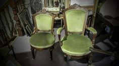 GA1149   -   Pair of English carved walnut gentlemans & ladies chairs c1860