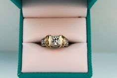 Drop-dead gorgeous Diamond Ring - with a princess cut center  and yellow diamond accents #CustomDesign #yellowdiamonds #twotone #ring #Houma