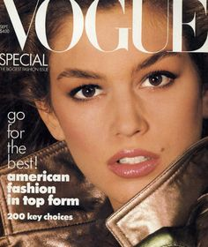 Cindy Crawford on the cover of Vogue's September issue in 1987.