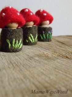Waldorf Toadstool Tots, Easter basket toys, Toadstool peg dolls, Waldorf Doll house, Tree House dolls, red, brown, green, white, purple