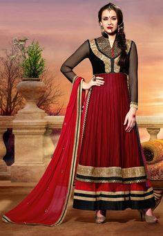 Red And Black Net Anarkali Salwar Suit-711