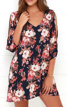 Shifting Dears Navy Blue Floral Print Dress via @bestchicfashion