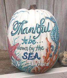 Painted Pumpkins with a Coastal, Beach & Nautical Theme Coastal Fall, Coastal Cottage, Coastal Style, Coastal Living, Coastal Decor, Coastal Farmhouse, Coastal Entryway, Coastal Rugs, Modern Coastal