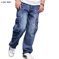 Best Budget $40.51, Buy Hip Hop Style Streetwear Big Wide Leg Jeans Baggy Bell Bottom Jeans For Men Loose Baggy Pants Biker Trousers Plus SIze 42 44 46