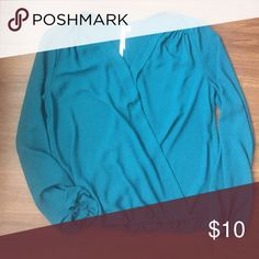 Wrap top Perfect condition. Gorgeous teal color. Snap closure. Elastic at waist and wrists. From Nordstrom. Brand is Bellatrix. Lush Tops Blouses