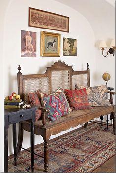 .Antique runner and Kilim cushions