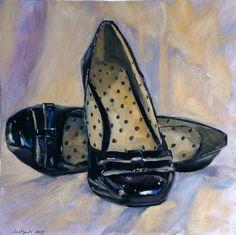 Black Shoes, oil on board