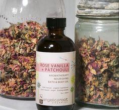 Rose Vanilla patchouli bath & body oil Biodegradable Products, Aromatherapy, Bath And Body, Vanilla, Organic, Oil, Vegan, Boutique, Aroma Therapy