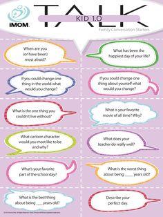 Kid 1.0 Talk, Conversation Starters