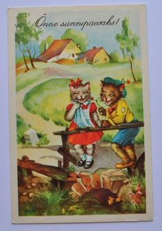 1930s-Estonia-Vintage-Comic-Postcard-Human-Cat-Cats.jpg (703×1000)