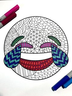 Joy Emoji  PDF Zentangle Coloring Page