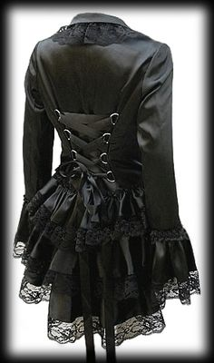 Plus Size Black Satin Gothic Burlesque Corset Bustle Jacket