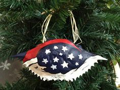 Hand painted crab shell ornament - Sleeping Santa Claus. $12.95, via Etsy.