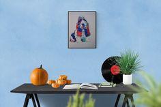 Pop art illustration: Basset Hound, handmade illustration, colorful art, perfect gift for dog lovers, free shipping #CustomPetPortrait #basset #dog