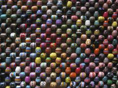 Colorfully painted, right angle woven beads