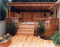 Hot Tub Gazebo, Hot Tub Deck, Hot Tub Backyard, Backyard Patio, Backyard Ideas, Small Gazebo, Porch Ideas, Pergola Attached To House, Deck With Pergola
