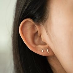 Stud Earrings Trio Gold Filled Herkimer Diamond /& Gemstone Studs Minimalist Birthstone Gift Simple Everyday Accessories