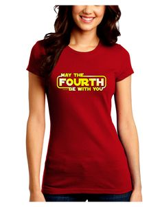 TooLoud May The Fourth Be With You Juniors Petite Crew Dark T-Shirt