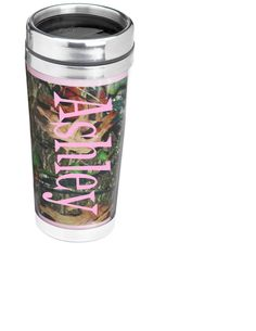 Pink Camo Hunting Mossy Oak 16oz travel mug by CraftsByAF on Etsy, $16.00...that is just perfect for me! :)
