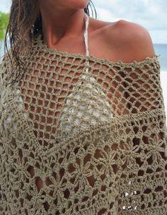 Crochet poncho by Mango. No pattern . pinned for inspiration. un detalle mas cerca Gilet Crochet, Crochet Poncho Patterns, Crochet Shawls And Wraps, Crochet Jacket, Crochet Blouse, Crochet Scarves, Crochet Clothes, Crochet Woman, Love Crochet