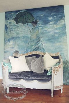 She transformed a beautiful French headboard into an absolutely STUNNING daybed. Furniture Makeover, Diy Furniture, Repurposed Furniture, Furniture Projects, French Daybed, French Provincial Home, Bench With Back, Glass Centerpieces, Old Dressers