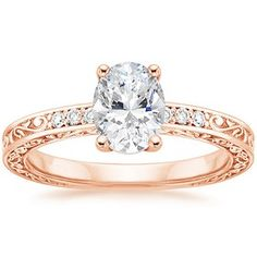 Oval antique rose gold engagement Ring