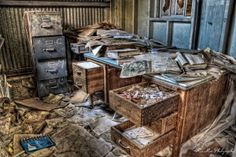 Awesome HDR of an abandon machine shop office in CA.