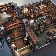 Steampunk interior concept art i did during my days at Polywick Studio. Steampunk City, Arte Steampunk, Steampunk House, Steampunk Design, Steampunk Bedroom, Steampunk Interior, Fantasy Places, Fantasy World, Fantasy House