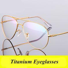 Fashion Women Titanium Eye Glasses Frames Men Brand Titanium Eyeglasses Gold Shield Oversized Spectacles Frame with Glasses