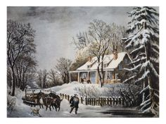 400 Piece Jigsaw Puzzle (other products available) - CURRIER & IVES: WINTER SCENE.& Undated lithograph by Currier & Ives. - Image supplied by Granger Art on Demand - 400 Piece Jigsaw Puzzle made to order in the UK Winter Szenen, Winter Storm, Winter Christmas, Christmas Art, Vintage Christmas, Christmas Scenery, Mary Christmas, Christmas Villages, Christmas Photos