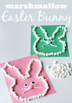 Fun and simple Easter bunny craft that uses marshmallows to boost fine motor development, counting, while entertaining kids!