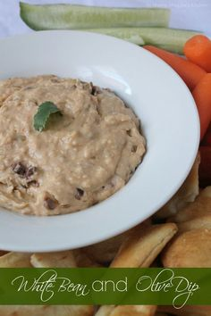 White Bean and Olive Dip, a creamy, healthy, and yummy dip is perfect for game day. by Mama Maggie's Kitchen