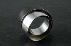 Ring | Oblik Atelier. 'Ribbons'.  Sterling and oxidized sterling silver.