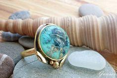 Купить Морское кольцо - кольцо ручной работы, латунь, муранское стекло, lampwork (лэмпворк), море