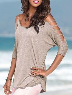 0dbd0a22fda08 Womens Edgy Sleeve Design Casual Top