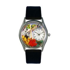 Whimsical Watches Autumn Leaves Black Leather And Silvertone Watch