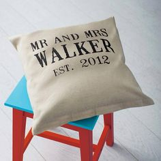 Our best seller! This personalised 'Mr & Mrs' cushion makes the perfect wedding or anniversary gift! $49.80