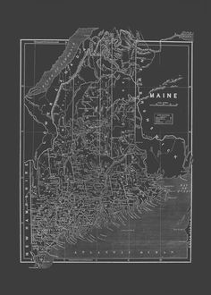 MAINE STATE MAP Blueprint Map of Maine by EncorePrintSociety