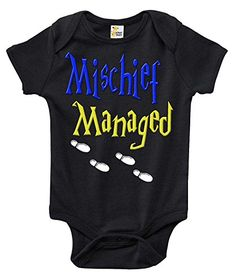 bf6df25c5912 Mischief Managed Funny Cute Harry Potter Onepiece Baby Bodysuit Romper 36  Months Black >>