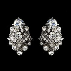 Silver Clear Rhinestone Bridal Clip On Earring 1334