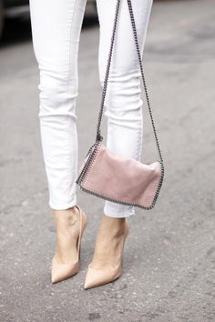 Something Navy - White Jeans + Christian Louboutin Nude Pumps