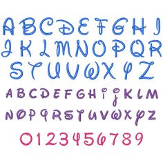 Disney lettering, Includes: Lower case letters Upper case letters Numbers