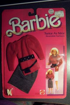 Barbie 1984 Twice As Nice Reversible Fashions No. 7950 Skirt Top Belt Black Red