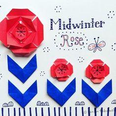 雪が降ってきそーな空。 ご近所のサザンカをみてバラが咲いてるんかとおもた。。 #おりがみ #バラ #雪になるかも #illustration #papercraft #scandinavian #origami #rose #三色ボールペン