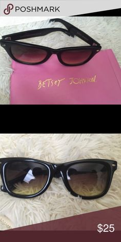Sun glassed Like new condition as you can see from photos. Betsey Johnson. Comes with  pink case. Betsey Johnson name on the front arm of glasses Betsey Johnson Accessories Glasses