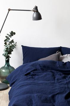 Navy Stone Washed Linen Duvet Cover by LinenTalesInBed on Etsy