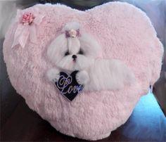 OOAK Maltese Shaggy Fur Heart Pillow, lights up inside   CTD