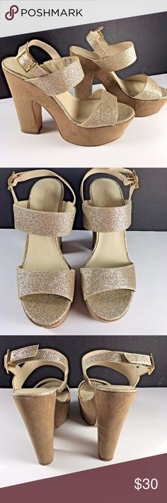 """Marco Santi Gold Sparkly Chunky Platform Heels Super sexy High Heels by Marco Santi  Gold glitter tops  Brown suede feel fabric on platforms  Chunky 5.5"""" heel  2"""" Platform  Shows some wear, see close up pics  Nice!  Size 9.5M Marco Santi Shoes Platforms"""