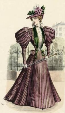 The Barrington House: 1896 fashion plate Purple stripes with green trims, great combination